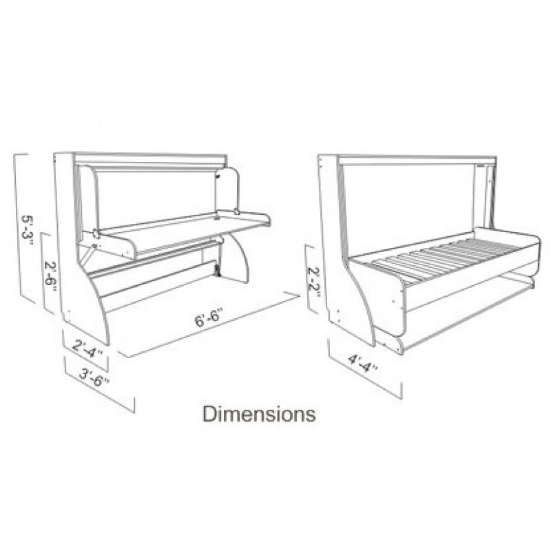 Frh0327 p twin single hiddenbed m1 mechanism kit for for Study bed plans