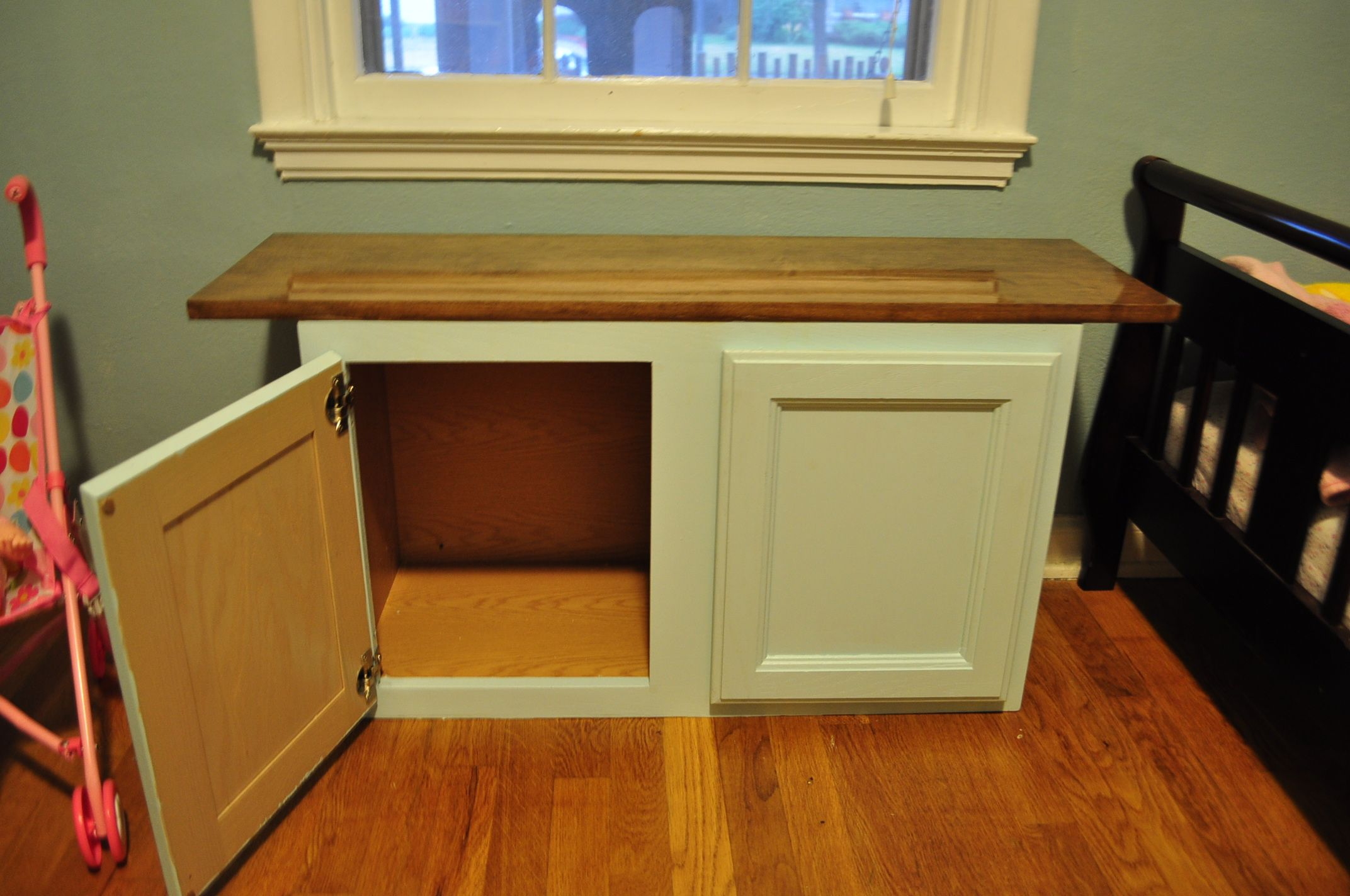 Repurposed Kitchen Cabinet As Toddler Storage Bench Repurposed Kitchen Diy Storage Bench Vintage Kitchen Cabinets