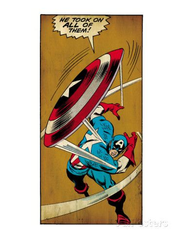 Marvel Comics Retro: Captain America Comic Panel, Throwing Shield (aged) Posters hos AllPosters.no