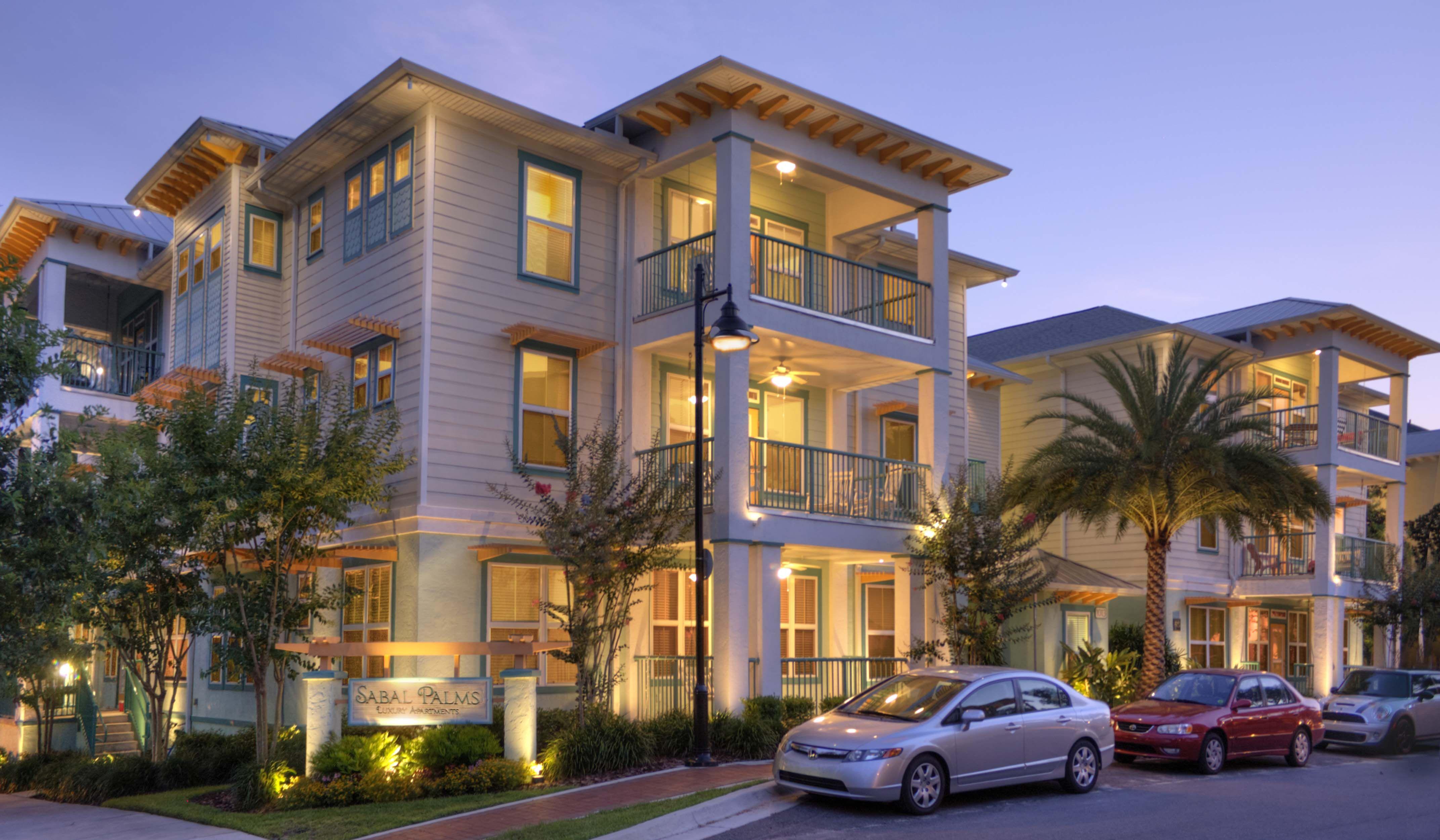 Dusk View of the Luxurios Sabal Palms Apartments near