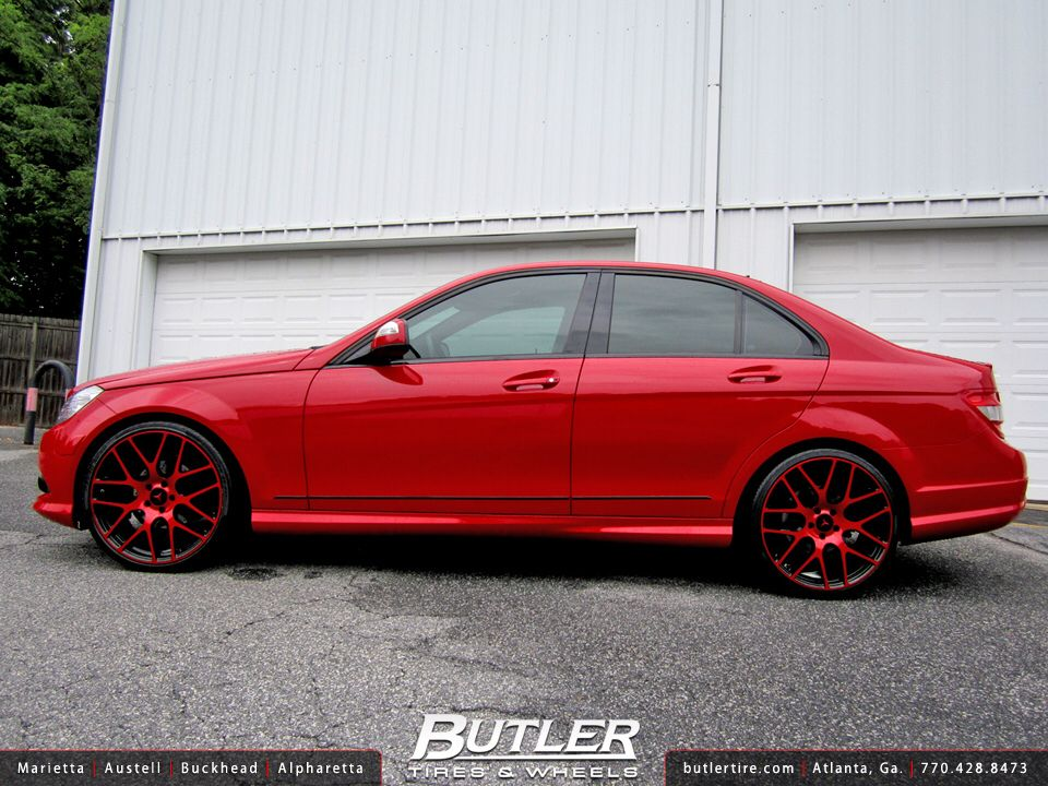 Red Mercedes Benz W204 With Red Rims Custom Mercedes Benz