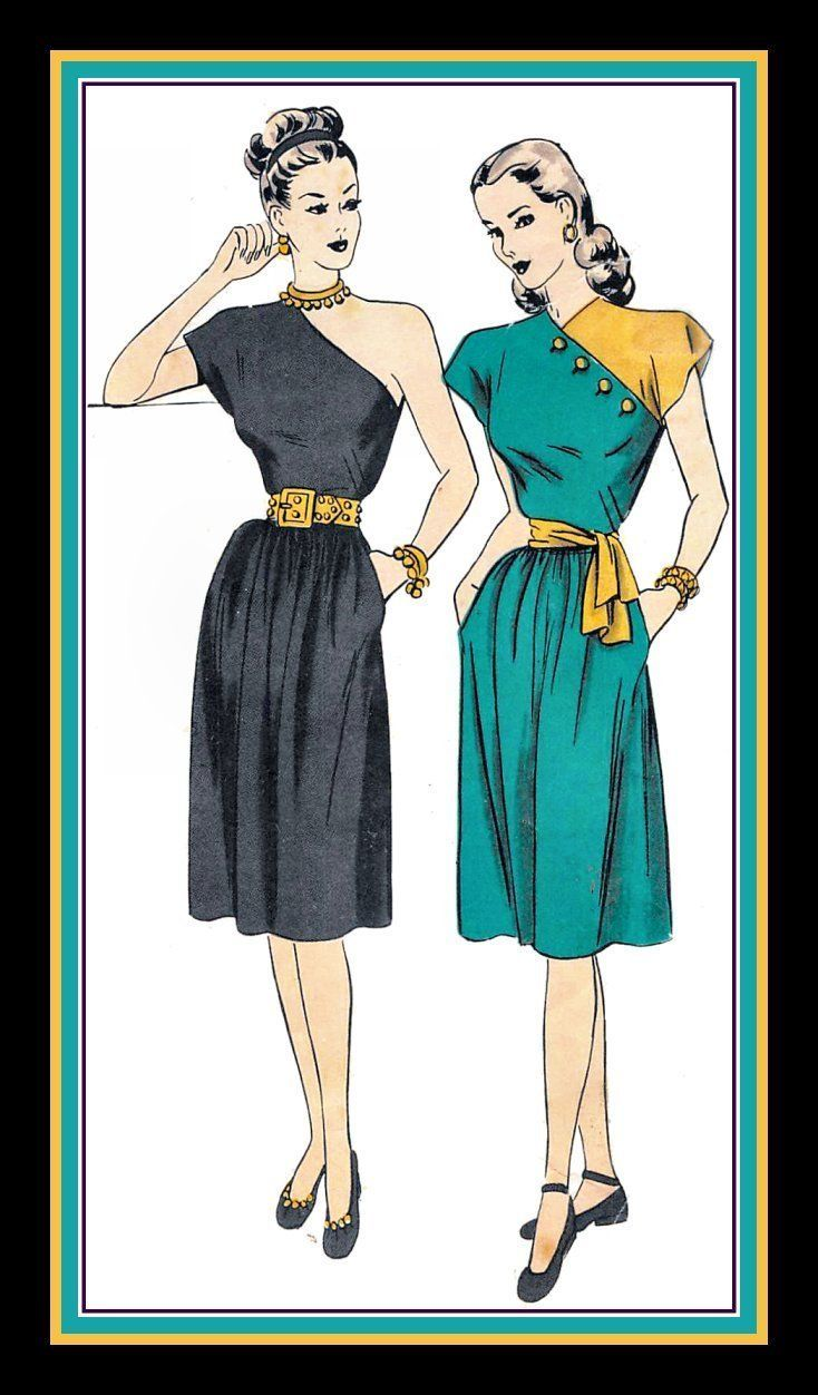 Vintage 1940s Color Block Swag Dress: Vintage 1940S-HOLLYWOOD GLAM STYLE-Sewing Pattern-Two