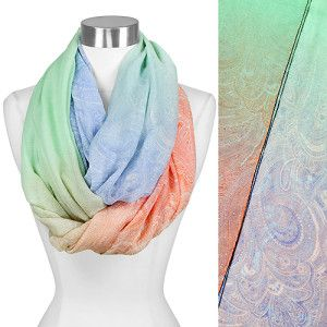 $20 Color Ombre Paisley Print Infinity Scarf