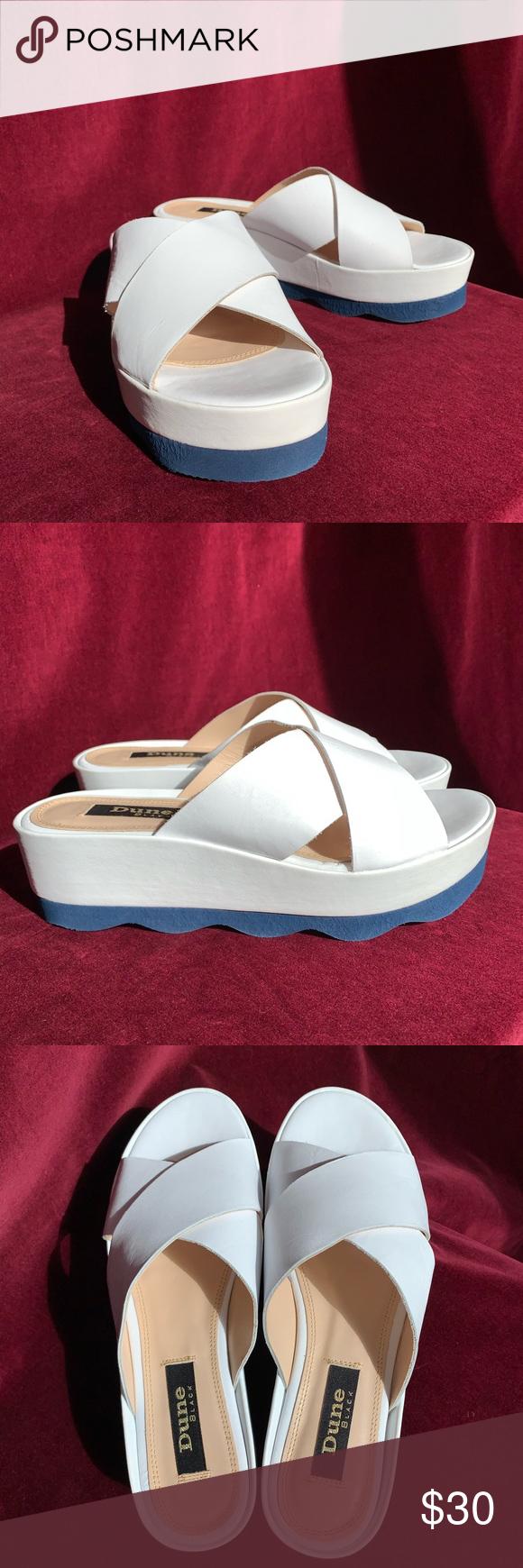 Dune White \u0026 Navy Blue Sandals   Navy