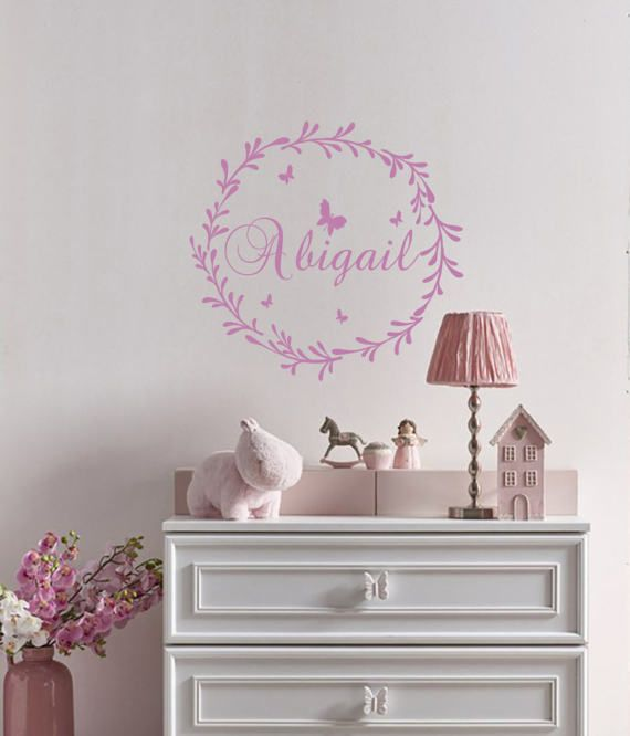 Personalized name wall decal boy vinyl deer antler decor nursery bedroom stickers art  also rh pinterest