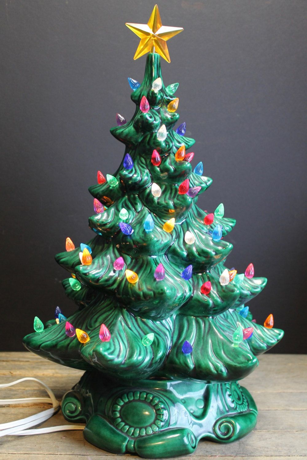 1970s Atlanmtic Mold Lighted Ceramic Christmas Tree // Multi Colored ...
