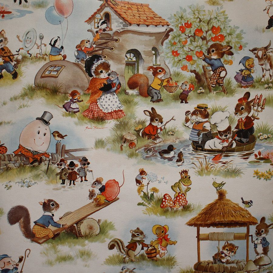 Stunningly Detailed Vintage Nursery Rhyme Wallpaper 1950