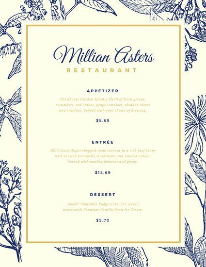 Blue And Gold Floral Elegant Menu  Restaurant  Seafood