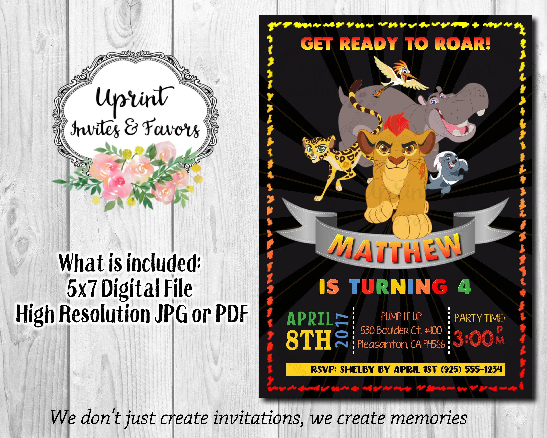 Lion Guard Chalkboard Invitation, Jungle Birthday Theme, Get Ready To