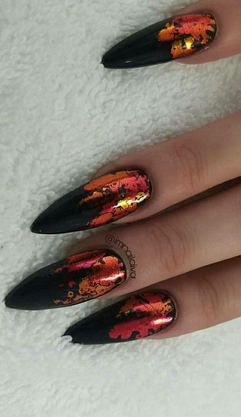 Black ombre chrome nails | Ombre chrome nails, Black nail ...