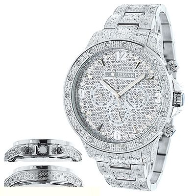 Mens Diamond Watches: This Iced Out Watch from our mens diamond watches collection is fully paved with 1.25 carats of genuine diamonds. Features a fully paved face with three subdials and a white gold plated stainless steel case and band paved with genuine diamonds. This luxurious mens diamond watch by Luxurman comes with two extra interchangeable straps in different colors (band colors may vary).
