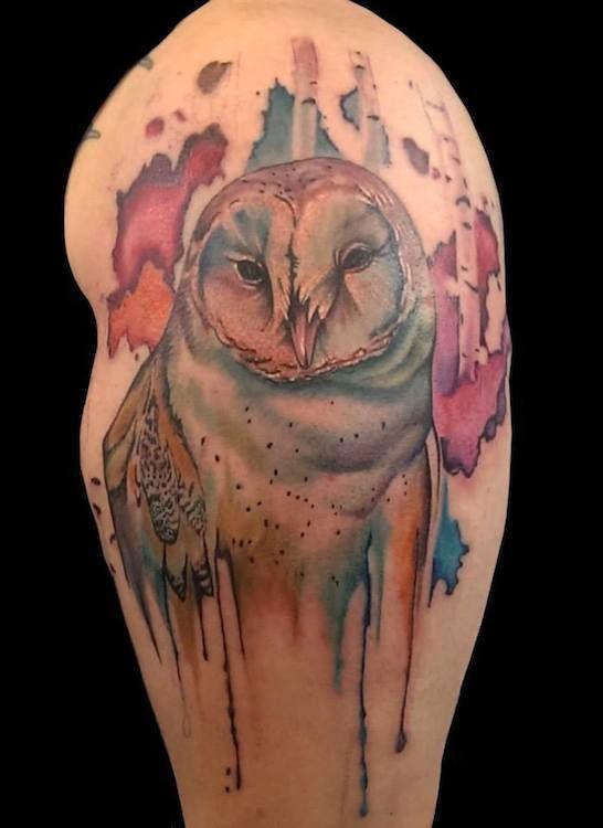 Watercolor Owl By Johnny Jinx At Boston Tattoo Company Boston Ma