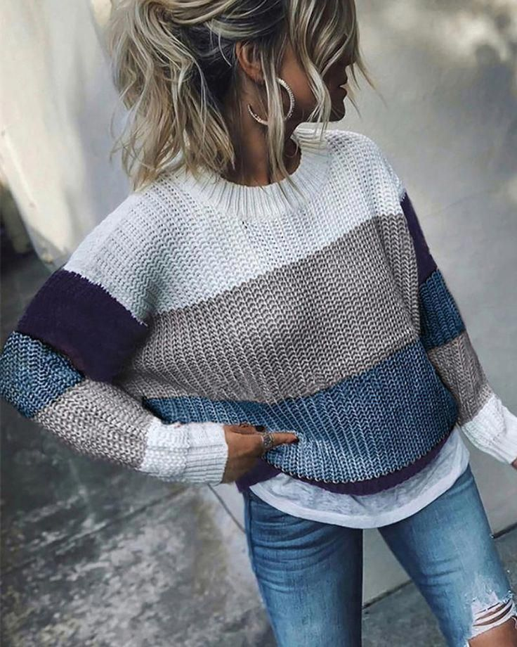 Crew Neck  Cutout  Contrast Stitching  Color Block Sweaters
