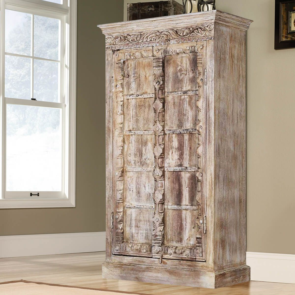 Antique white rustic solid reclaimed wood 2 door tall