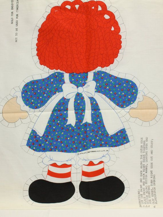 This is a fabric panel to Cut and Sew an original, 20 tall, Raggedy Ann doll! The selvedge is printed; copyright Springs Mills Inc. 1974, 1977,