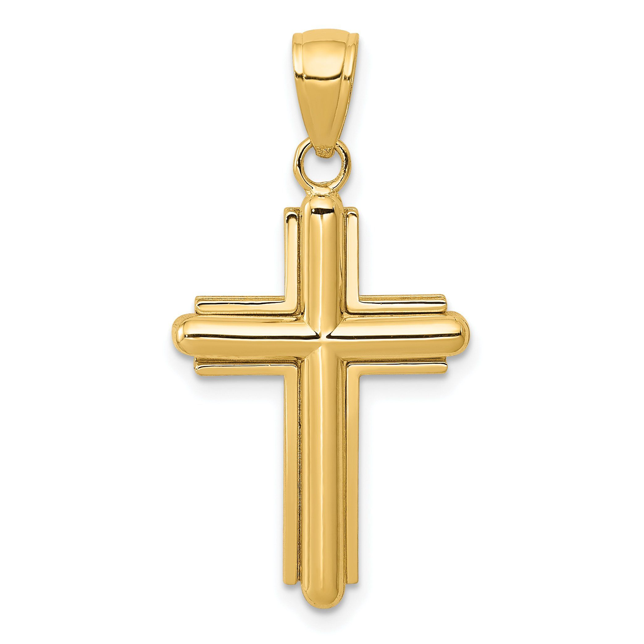 Silver Yellow Plated Cross Charm 33mm