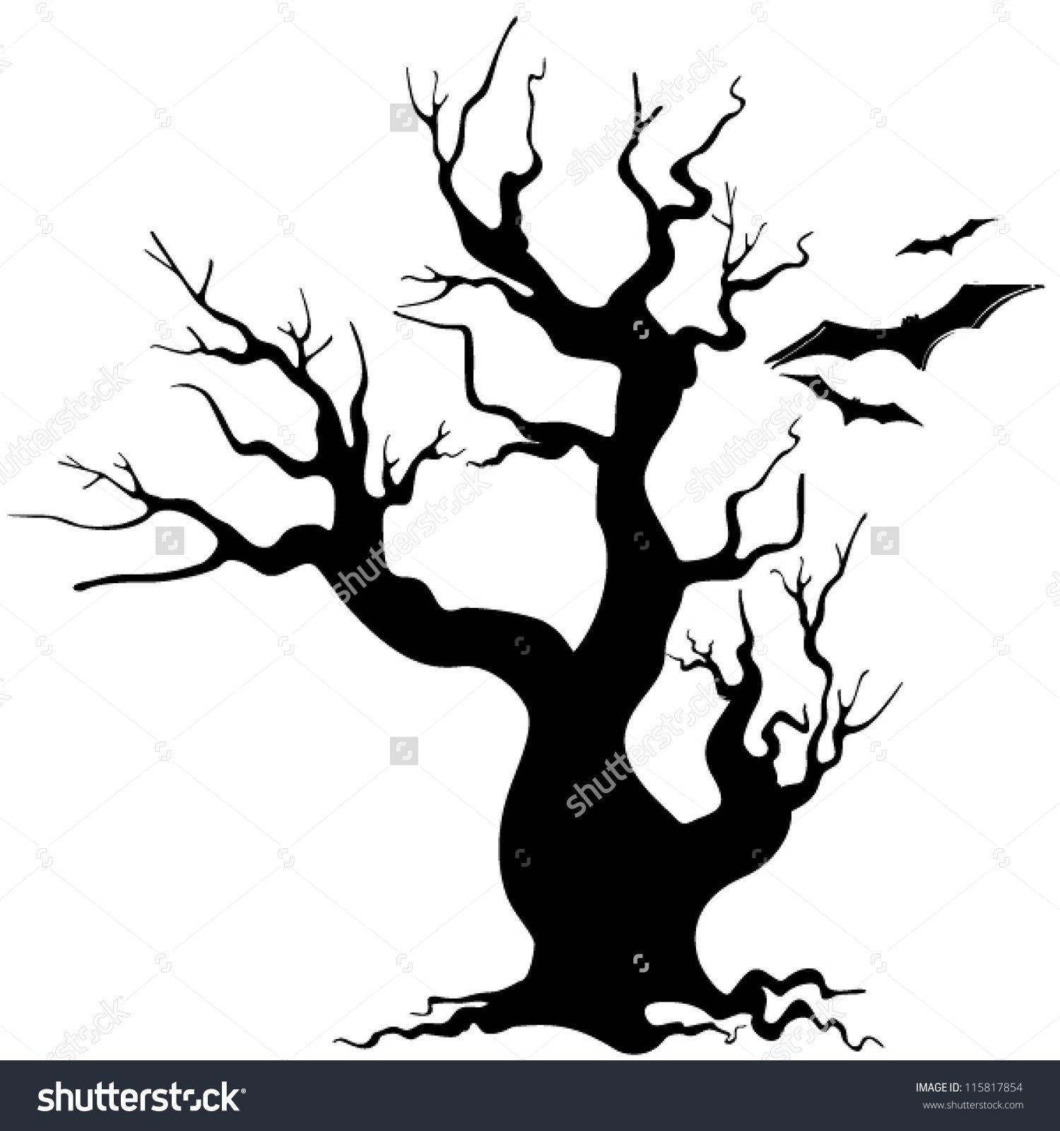 Haunted Template Of A Tree Tree Silhouette Drawing 46 Jpg 1 500 1 600 Pixels Christmas Tree Drawing Tree Drawing Nightmare Before Christmas Tree