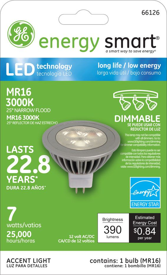 Ge Energy Smart R Dimmable 40w Replacement 7w Mr16 Led Light Bulb Warm White Energy Star R Qualifie Led Track Lighting Led Bathroom Lights Led Light Bulb