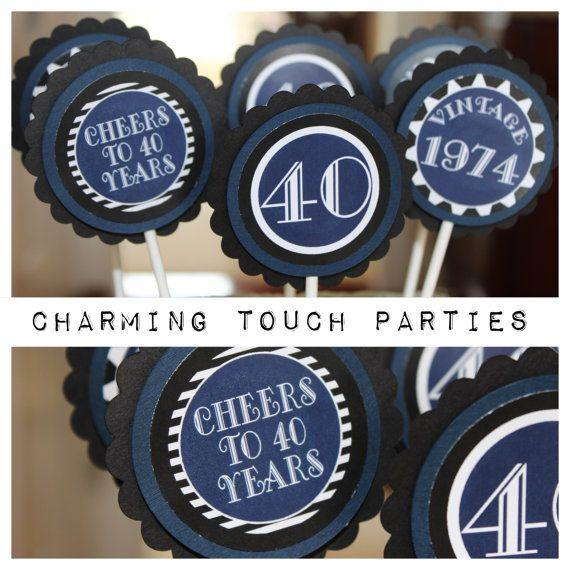 Set Of 12 Charming And Masculine Black Navy Blue 40th Birthday Cupcake Toppers You Choose Colors