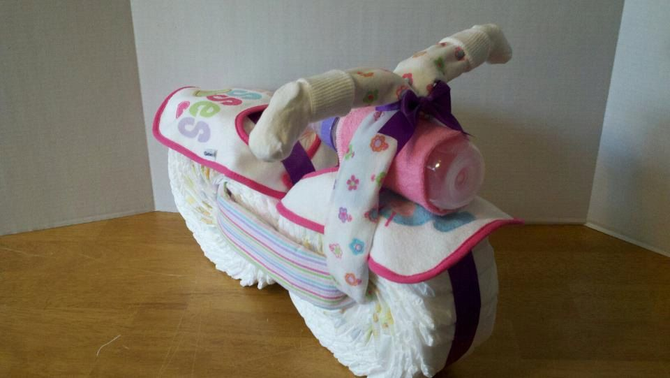 Diaper Motorcycle  Baby Shower Gift  Girl by 2CuteDesignsLS, $40.00  First time I have ever seen one of these. Very Cute!!!