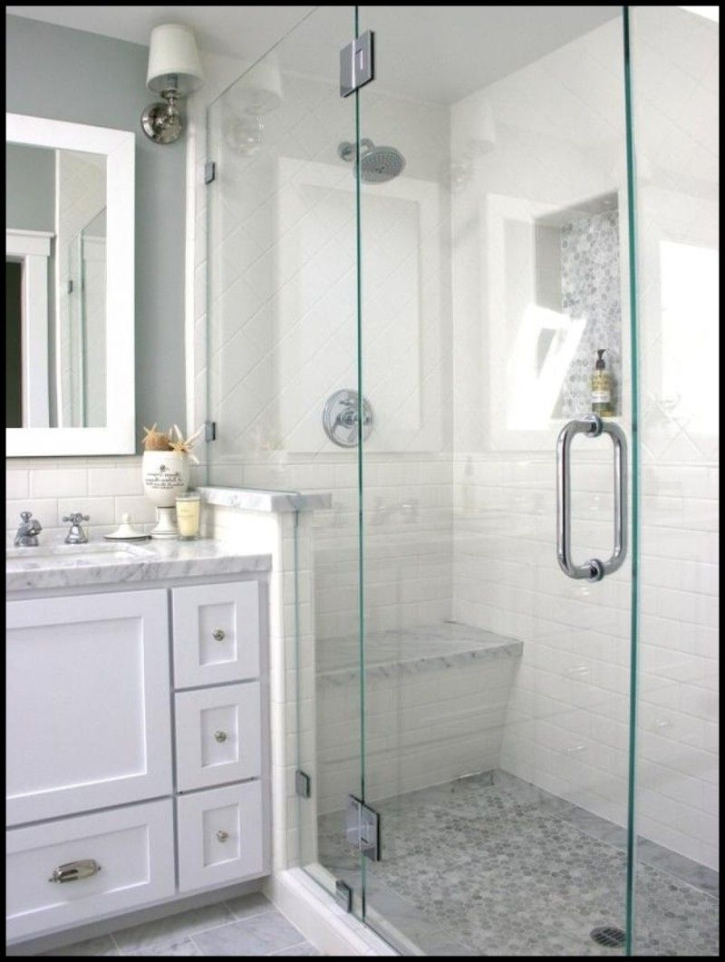 Bathroom, Modern Shower With Bench And Glass Door Design Feat Wall ...