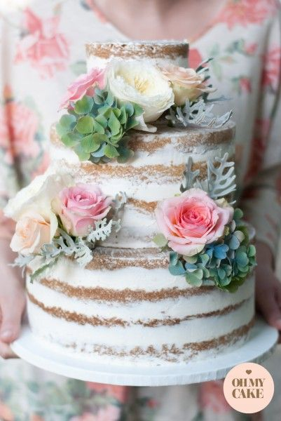 Naked Wedding Cake With Fresh Flowers Google Search