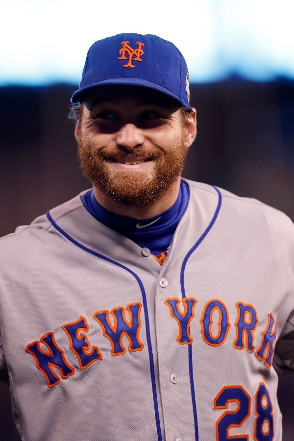 Daniel Murphy, NYM, prior to WS Game 2 at KC, Oct 28, 2015   [christian petersen/ getty images]
