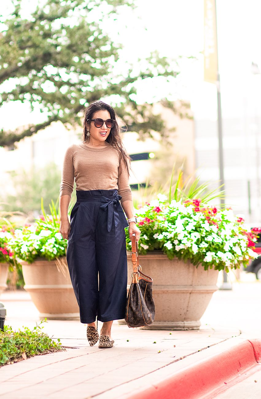 1c26b68b811 cute & little | dallas petite fashion blog | j.crew tippi sweater, paperbag  waist culottes pants, leopard mules, louis vuitton galliera | fall work  outfit ...
