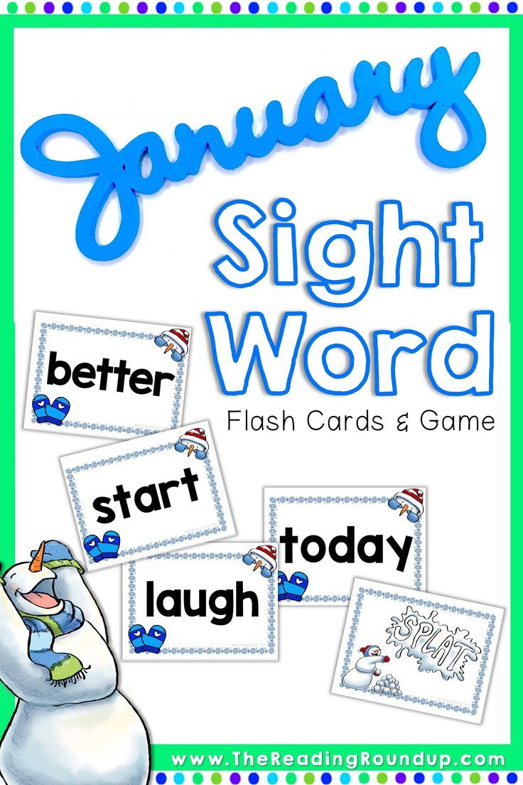 Winter Snowmen Sight Word Game and Flash Cards | January