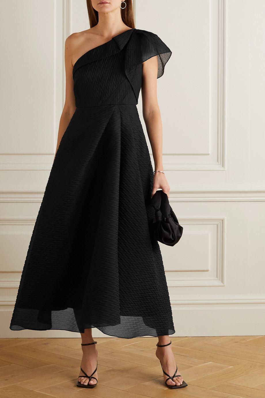 Black Ostuni One Shoulder Silk Blend Organza Jacquard Midi Dress Roland Mouret Net A Porter Pakaian Pesta Gaun Pakaian [ 1380 x 920 Pixel ]