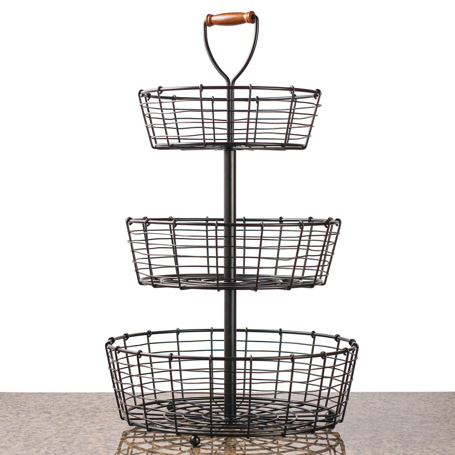 Giftburg 3 Tier Wrought Iron Wire Basket Lajfhaki