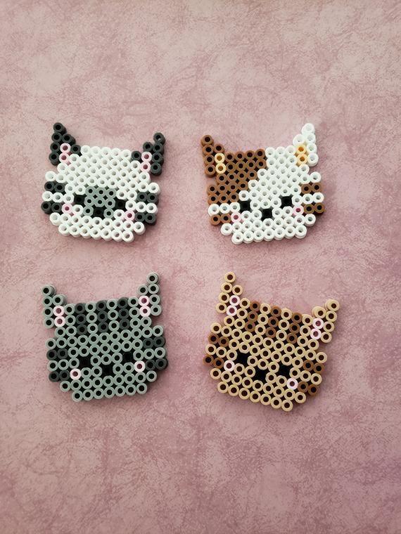 Cat Perler Bead Head – #Bead #Cat #magnet #Perler