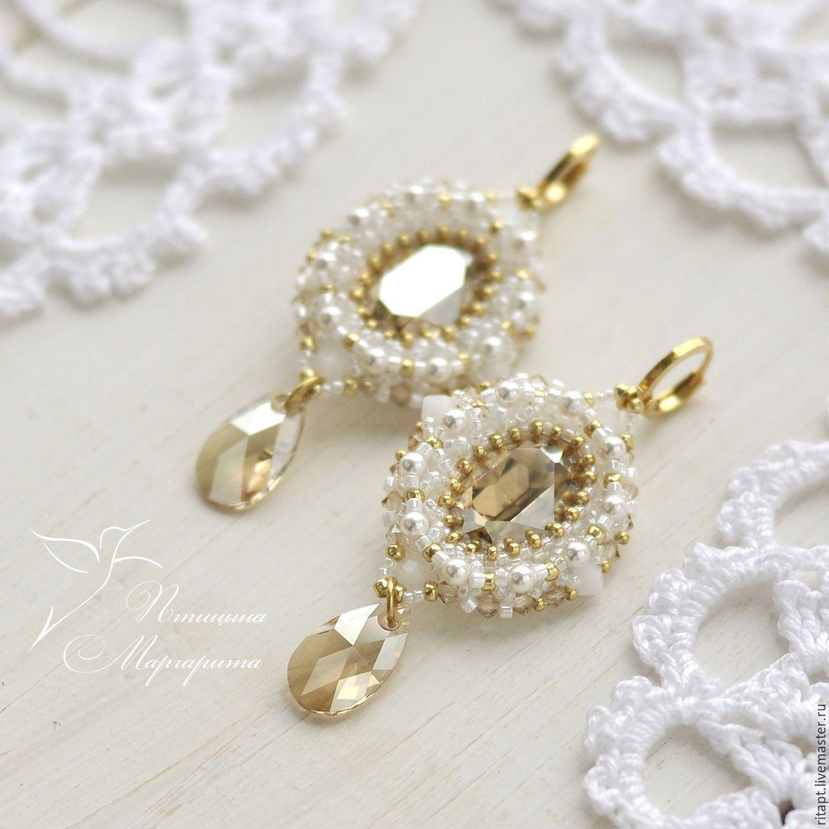 a08e8bd01b75 Купить Свадебные серьги с кристаллами Сваровски (swarovski), серьги из  бисера - золотой,