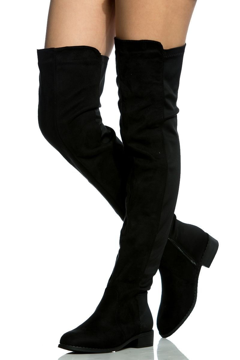 79e685023ae Black Faux Suede Thigh High Boots   Cicihot Boots Catalog women s winter  boots