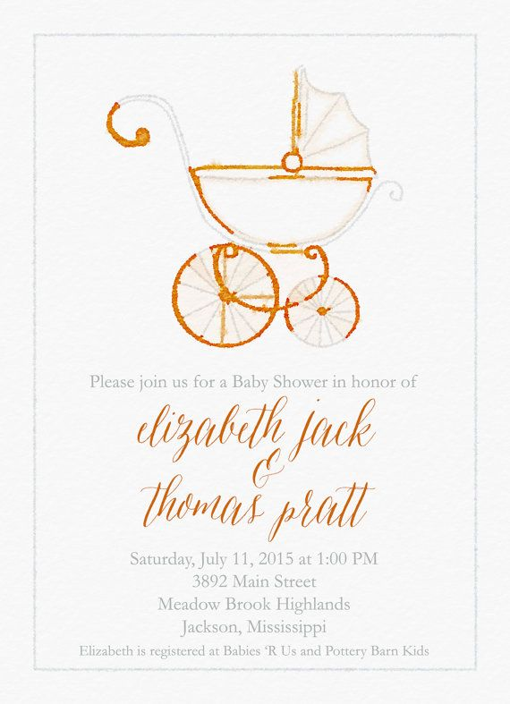 Watercolor Baby Carriage Shower Invitations By