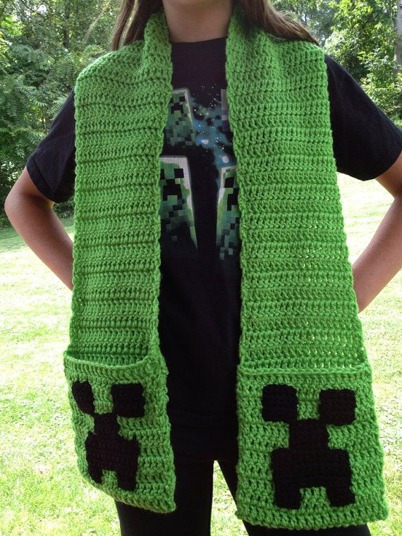 Minecraft Creeper Crochet Pocket Scarf by SteelCityStitcher, $24.99 ...