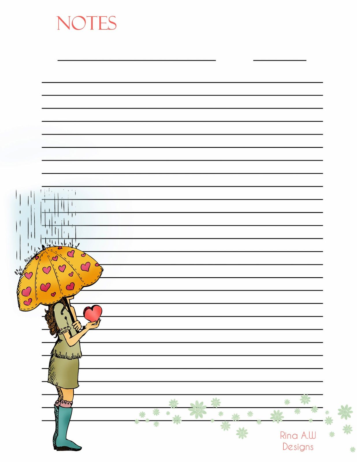 graphic about Cute Printable Notebook Paper known as Rina Enjoys: Adorable Printable Stationary Filofax Composing