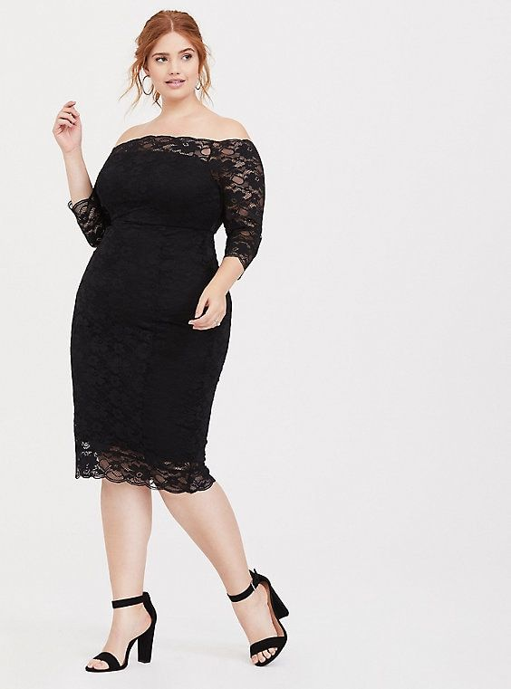 Black Lace Off Shoulder Bodycon Dress in 2019 | Plus size ...