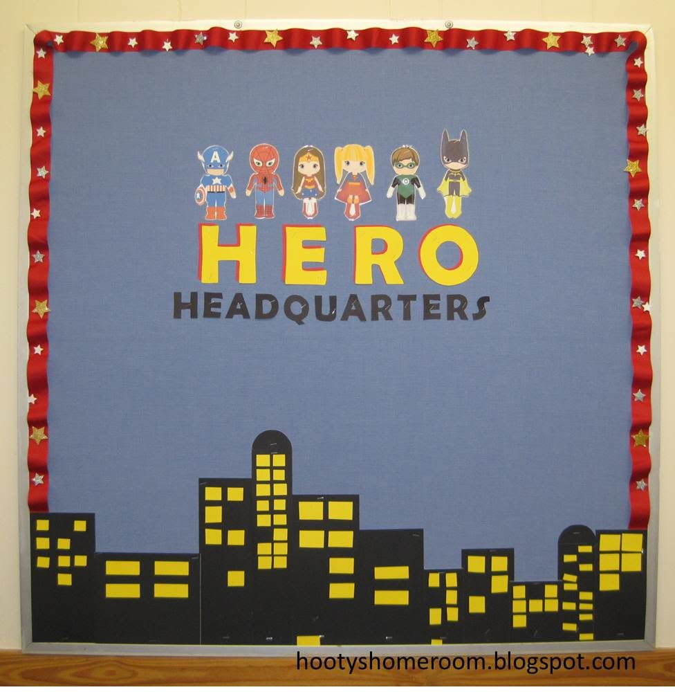 Superhero bulletin board ideas here s where i m for Decorating bulletin boards for work