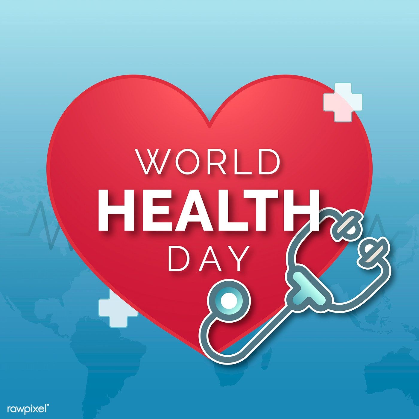 Cheerful world health day awareness vector free image by