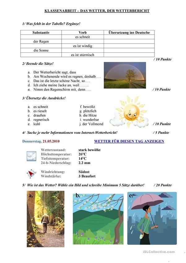 Das Wetter und der Wetterbericht   Wetterbericht, Wetter und Kinder ...