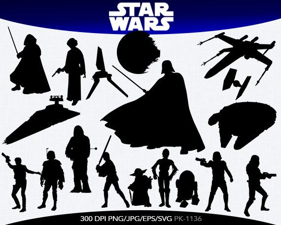 SPRING SALE Star Wars Instant Download silhouette Clipart digital jpg png ai svg files PK-0161