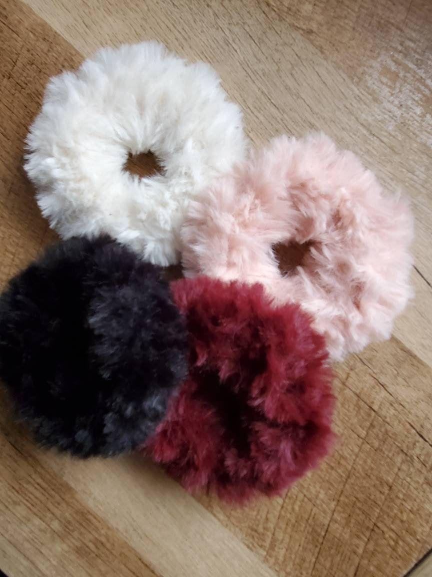 Crocheted Scrunchies Set,  Faux Fur Hair Ties, Luxury Hair Scrunchies, Crochet Velvet Scrunchies, Handmade scrunchies #crochetscrunchies
