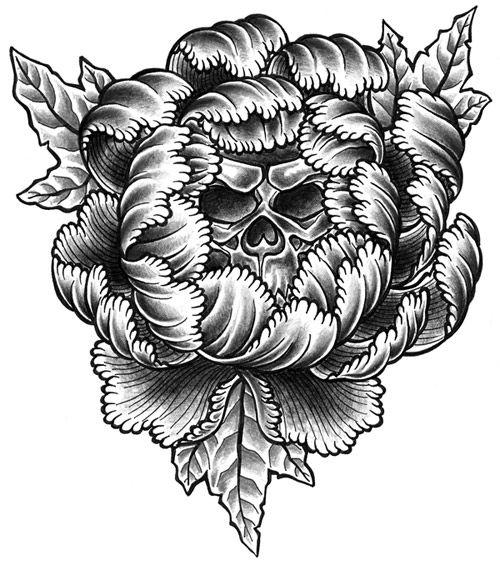 Peony Flower Skull