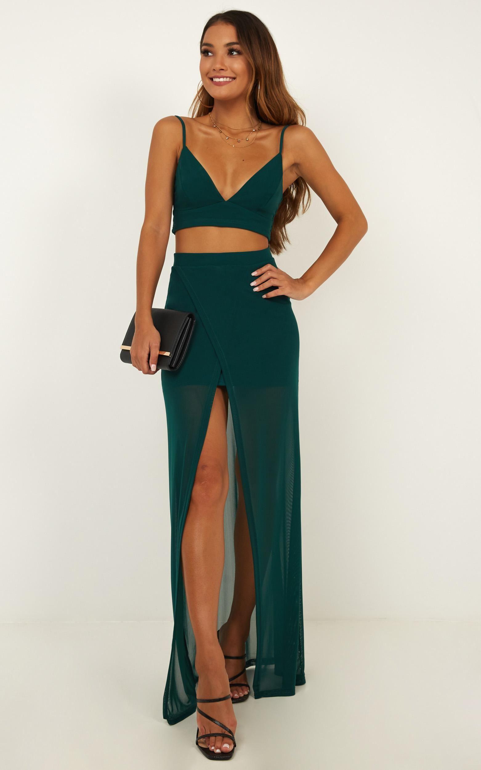 Body language two piece set in emerald showpo year 10