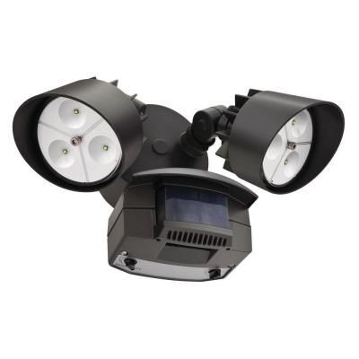 Flood Light Led Wall Mount 2 Head Motion Sensing Bronze Lithonia Lighting Outdoor Lighting Outdoor Light Fixtures