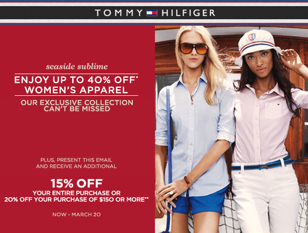 Tommy Hilfiger - Your Ship Hasn't Sailed Yet: Take Advantage of 40% off our Women's Collection Now