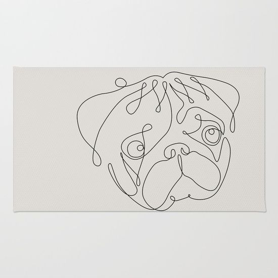 One Line Pug Rug Pug Tattoo Dog Line Art Pugs