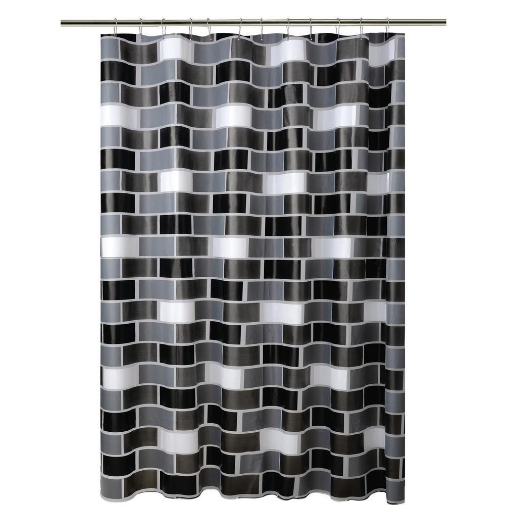 Bath Bliss Peva 70 In X 72 In White Grey And Black Brick