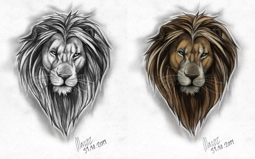 lion Tattoo Male lion Tattoo design by =Marzzpark on